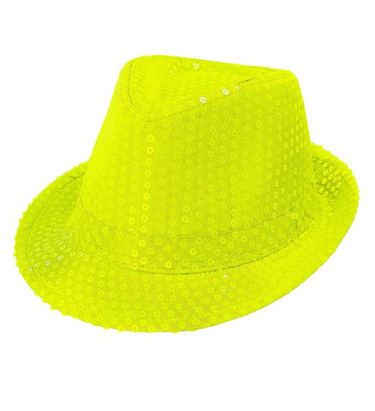 Adults Unisex Sequin Fedora Neon 80s 90s Club Party Fancy Dress Hat